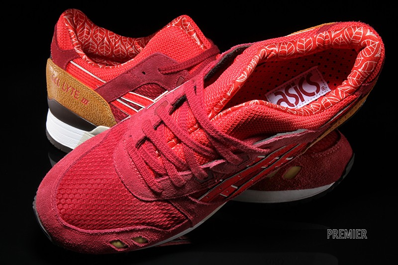 asics gel lyte iii fiery red background