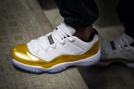 Air Jordan 11 Low White Gold Closing Ceremony On Foot