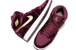 "Detailed Look at the Velvet Air Jordan 1 ""Night Maroon"""
