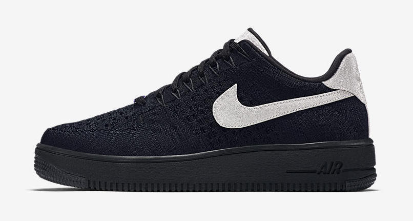 nike air force 1 flyknit black silver
