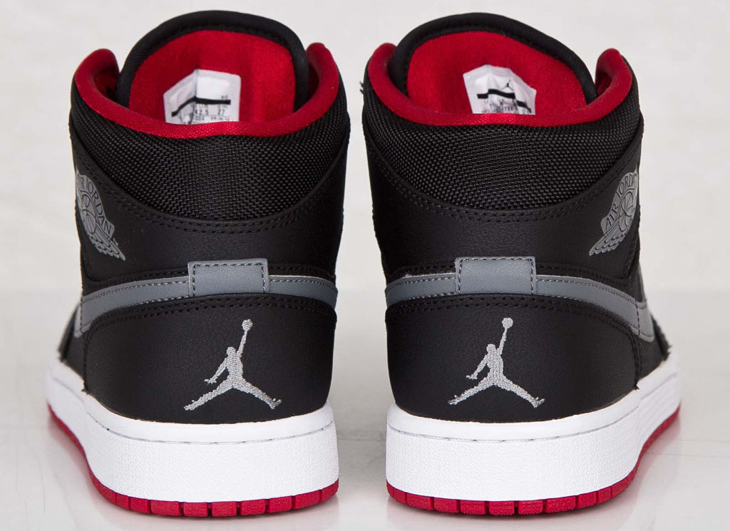 air jordan 1 mid black/cool grey/red