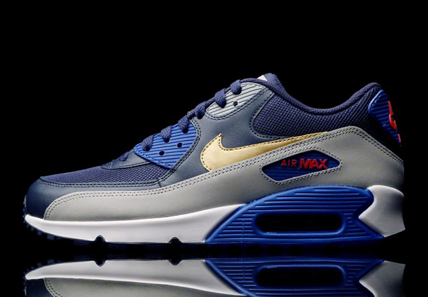 Nike Air Max 90 Olympic Navy Gold Red Sneaker Bar Detroit