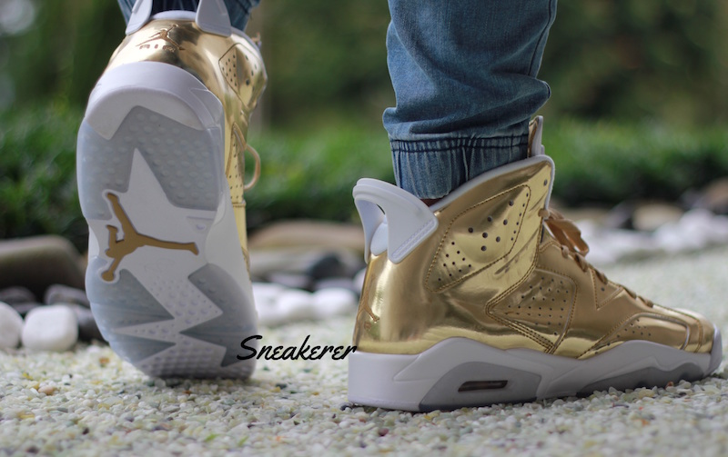 Air Jordan 6 Pinnacle Metallic Gold On Feet