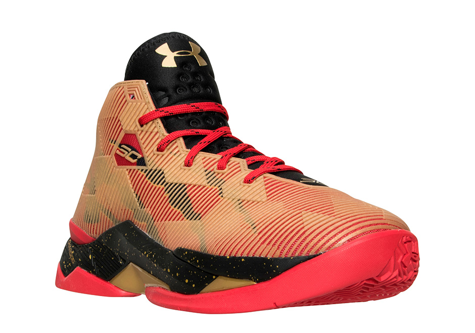 Under Armour Curry 2.5 49ers Red Black Metallic Gold