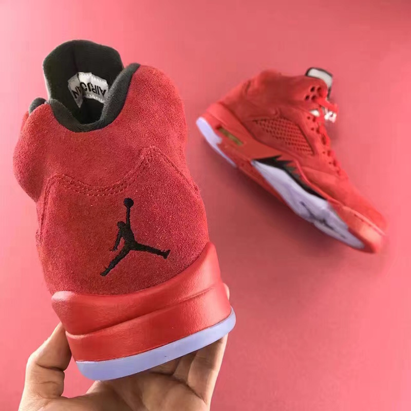 University Red Suede Jordan 5 Heel