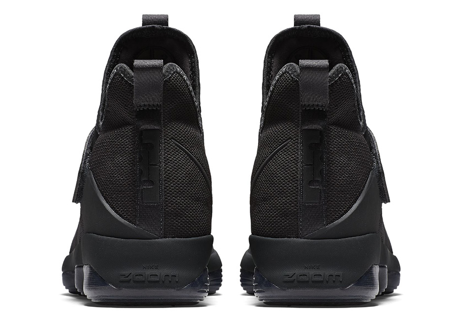 Nike LeBron 14 Triple Black Zero Dark Thirty Heel