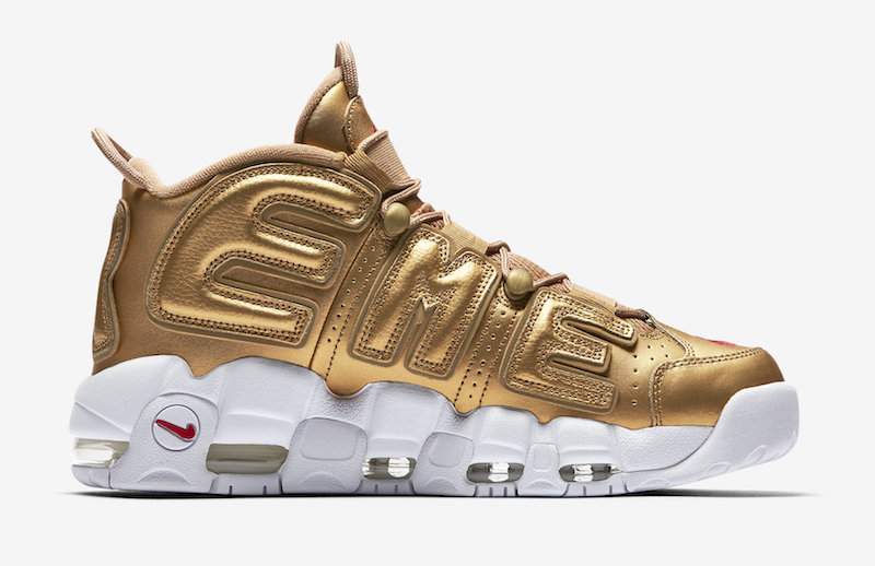 Gold Supreme Nike Air More Uptempo Restock