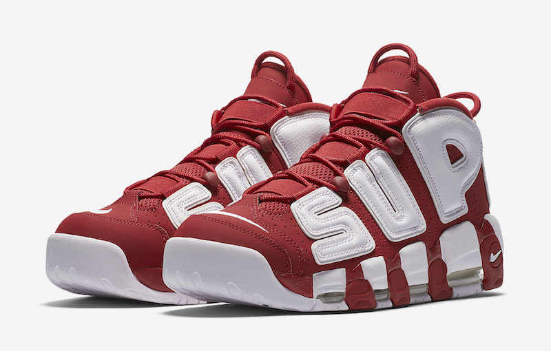 Red White Supreme Nike Air More Uptempo Restock