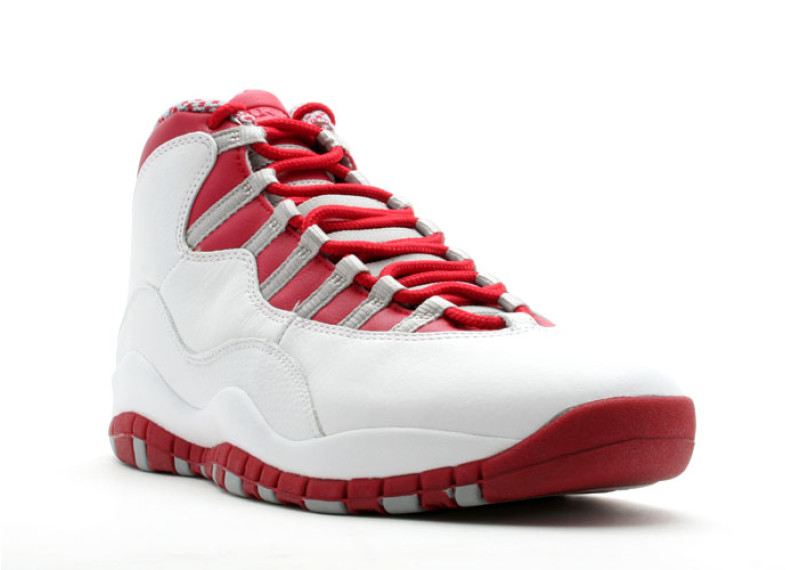 "Price: $170; Air Jordan 10 Retro ""Red Steel"" Colorway: White/Varsity Red- Light"