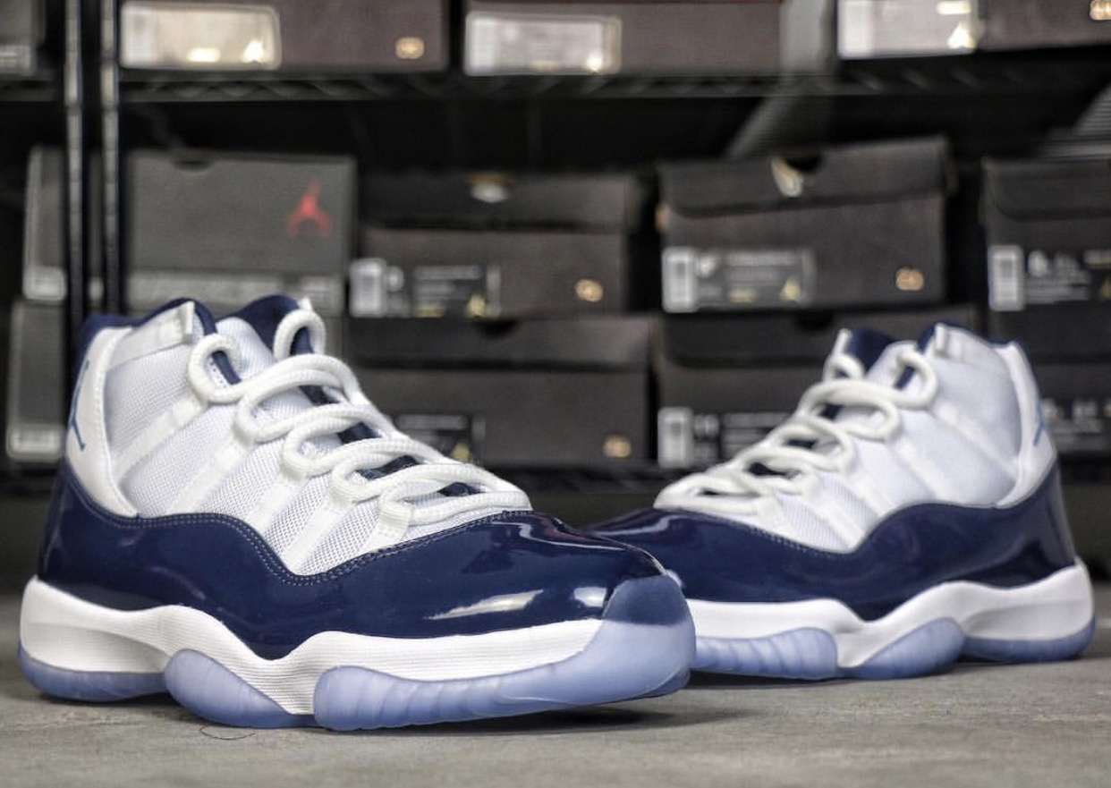Air Jordan 11 Midnight Navy Color: White/Midnight Navy-University Blue Style Code: 378037-123 Release Date: November 24, 2017 Price: $220