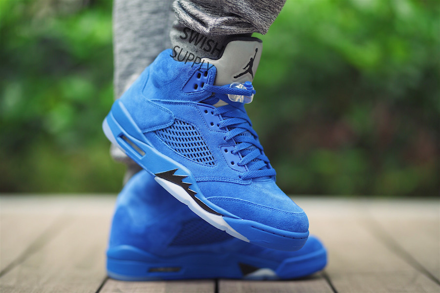 Air Jordan 5 Blue Suede On-Feet