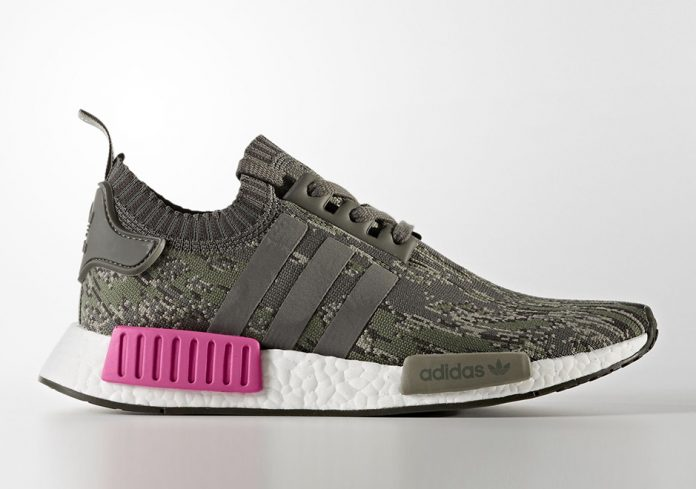 adidas NMD R1 Primeknit Utility Grey Camo Shock Pink Release Date