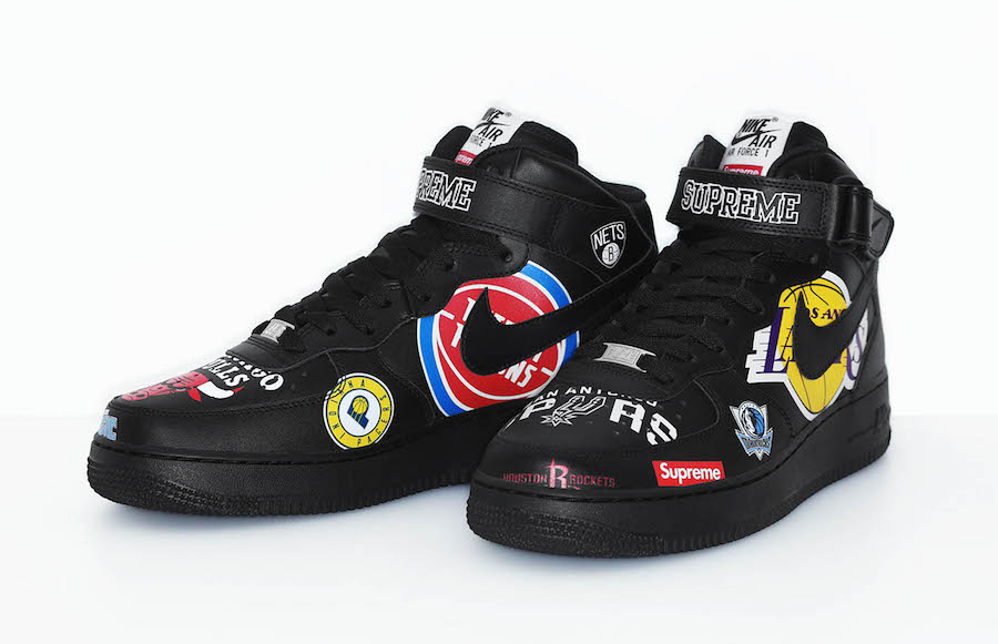 Supreme NBA Nike Air Force 1 Mid Black SNKRS Release