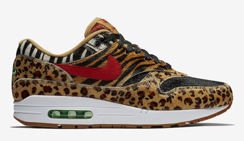 "0e925b29aa1 atmos x Nike Air Max 1 DLX ""Animal Pack"" Color  Wheat Bison-Classic  Green-Sport Red Style Code  AQ0928-700. Release Date  March 17"