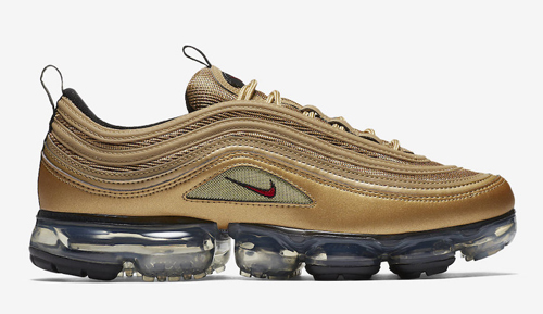 bdb166810c7ad Nike Air VaporMax 97. Color  Metallic Gold Varsity Red-Black-White Style  Code  AJ7291-700. Release Date  May 17
