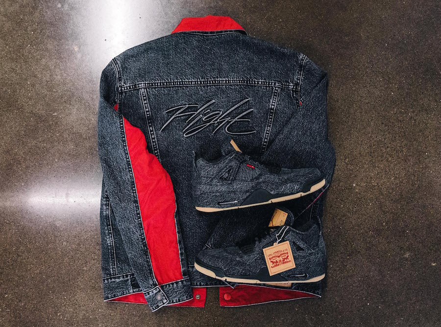 Levis Air Jordan 4 Denim Black Trucker Jacket