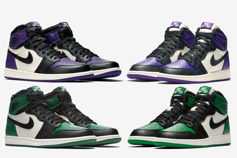 size 40 03200 7cc89 Air Jordan 1 Court Purple + Pine Green Grade School Release ...