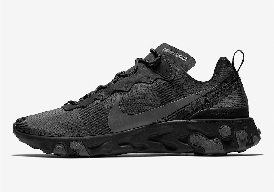 Nike React Element 55 Triple Black BQ6166-008 Release Date