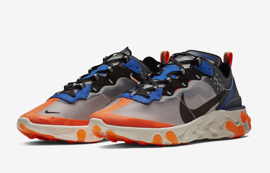 Nike React Element 87 Thunder Blue Total Orange AQ1090-004 Release Date