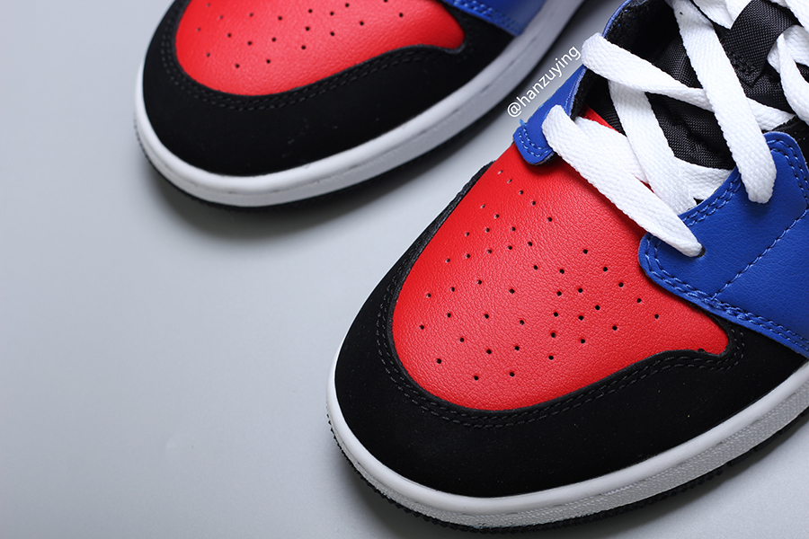 Air Jordan 1 Mid Top 3 Blue Red Black White 554725-124 ​​​Release Date