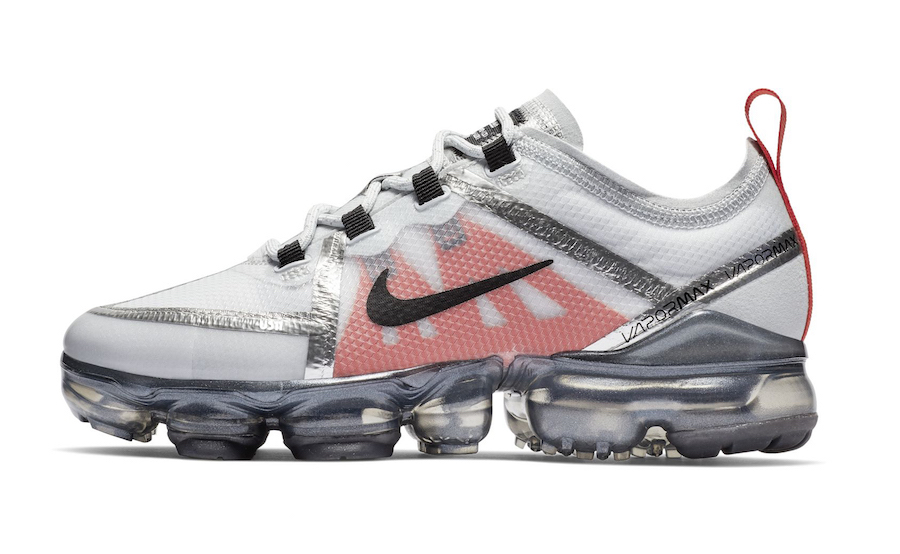 Nike VaporMax 2019 GS Silver White Red Black Release Date