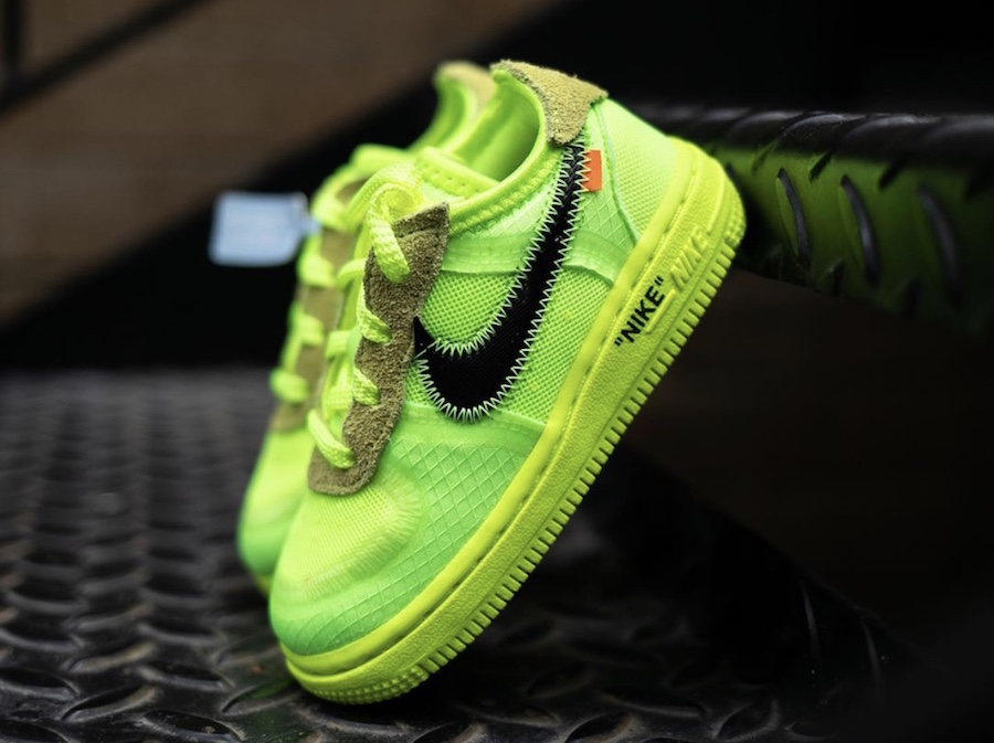 "5610cd3eb564e First Look: Off-White x Nike Air Force 1 Low ""Volt"" in Toddler Sizing"