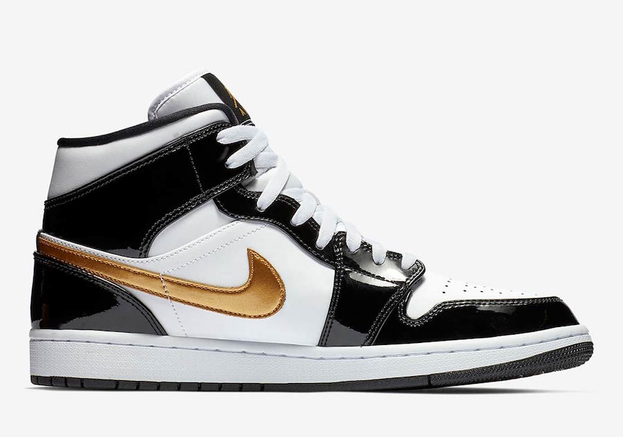 Air Jordan 1 Mid Patent Leather Black Gold 852542-007 Release Date