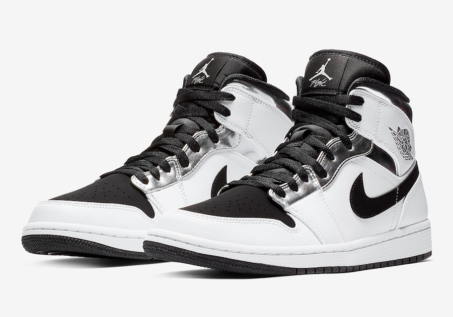 Air Jordan 1 Mid White Silver Black 554724-121 - Sneaker Bar Detroit b12e79fc0