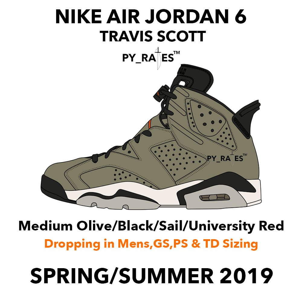 Travis Scott Air Jordan 6 Medium Olive Black Sail University Red Cactus Jack Release Date