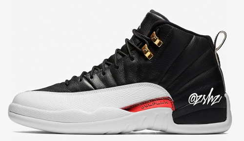 "f3a927e75 Air Jordan 12 ""Reverse Taxi"" Color  Black Gold-White Style Code  130690-017.  Release Date  November 9"