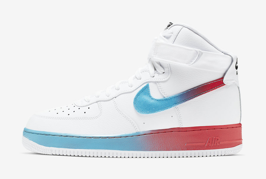 Nike Air Force 1 High White Blue Fury Ember Glow CJ0525 100
