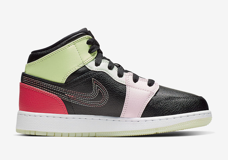 Air Jordan 1 Mid GS Glow Multi Stitched Swooshes AV5174-076 Release Date