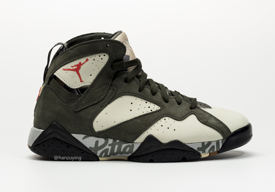 Patta Air Jordan 7 Icicle Sequoia River Rock Light Crimson AT3375-100 Release Date