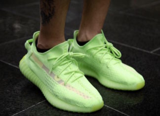 """big sale c273e 73d18 On-Feet Photos of the adidas Yeezy Boost 350 V2 """"Glow"""""""