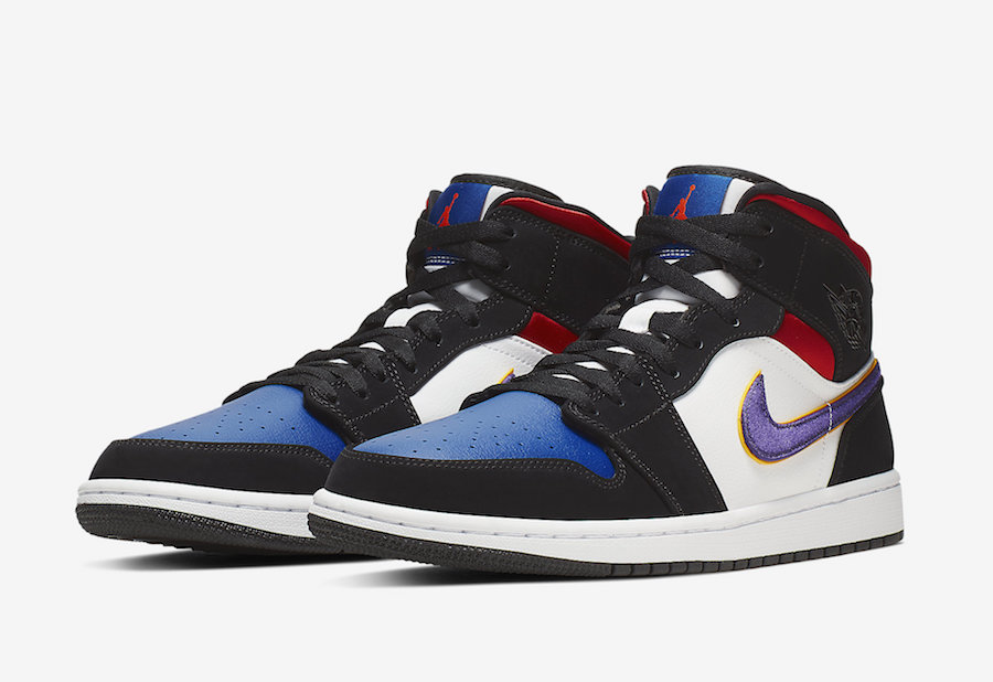 Air Jordan 1 Mid SE Field Purple White Gym Red 852542-005 Release Date