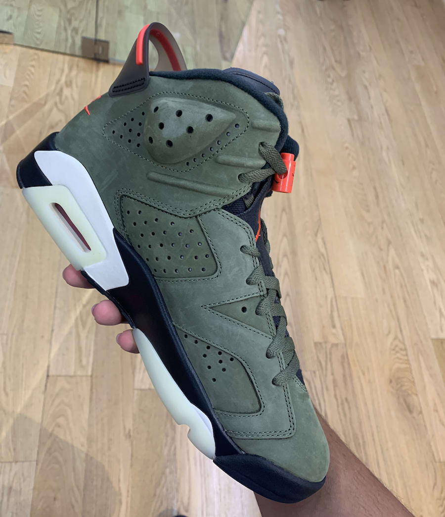 Travis Scott Air Jordan 6 Medium Olive Black Sail University Red CN1084-200 Release Date