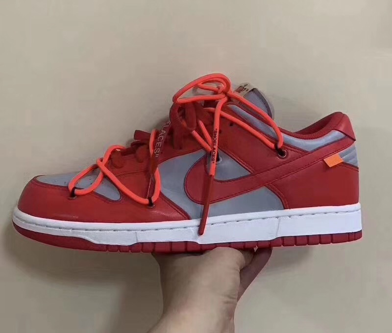 Off-White Nike Dunk Low Univeristy Red Wolf Grey CT0856-600