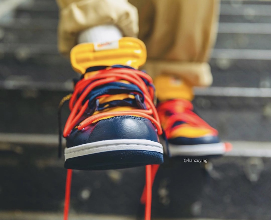 Off-White Nike Dunk Low University Gold Navy CT0856-700​​​​​​​ Release Date On-Feet