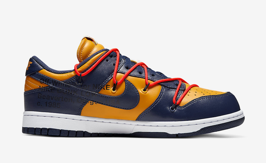 Off-White Nike Dunk Low Gold Navy CT0856-700 Release Date