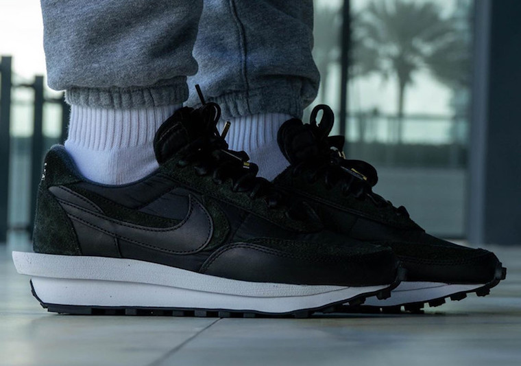 sacai Nike LDWaffle Black Nylon BV0073-002 Release Date On-Feet