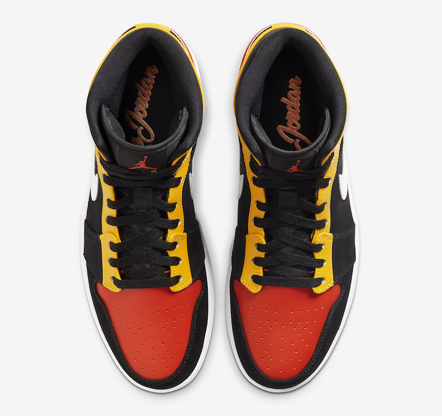 Air Jordan 1 Mid SE Black Amarillo Team Orange 852542-087 Release Date