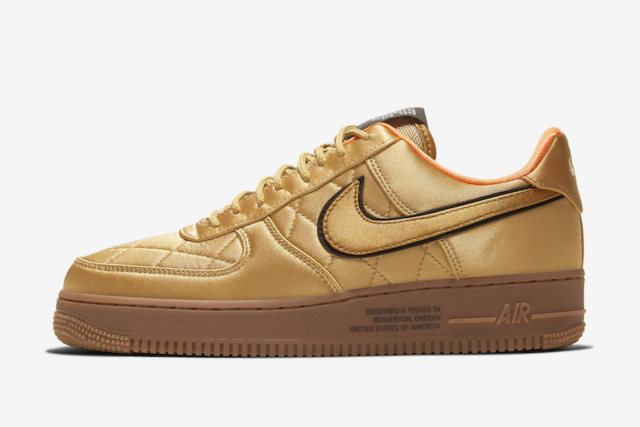 Nike Air Force 1 Low Quilted Gold Flight Jacket CU6724-777 Release Date