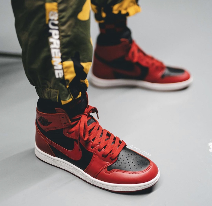 Air Jordan 1 Hi 85 Varsity Red Reverse Bred BQ4422-600 Release Date On-Feet