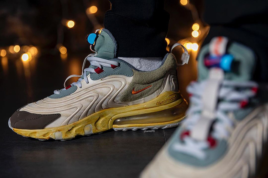 Travis Scott Nike Air Max 270 React CT2864-200 Release Date On-Feet
