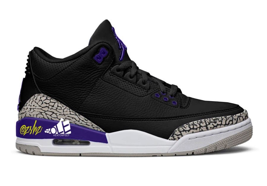 Air Jordan 3 Black Cement Grey White Court Purple CT8532-050 Release Date