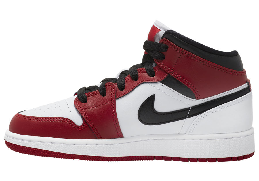 Air Jordan 1 Mid GS White Gym Red Black 554725-173 Release Date