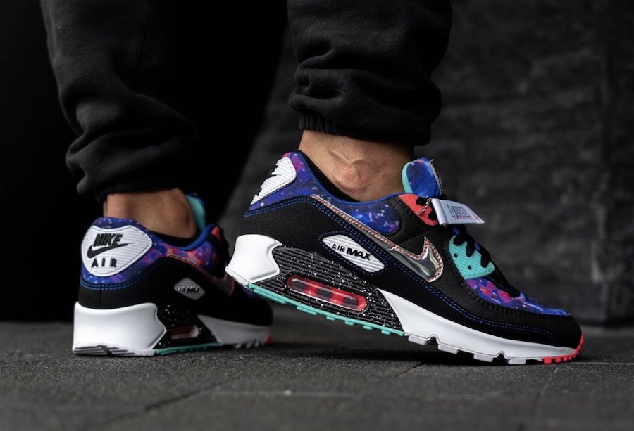 Nike Air Max 90 Galaxy CW6018-001 Release Date On-Feet