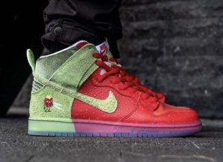 Nike SB Dunk High Strawberry Cough CW7093-600 Release Date On-Feet