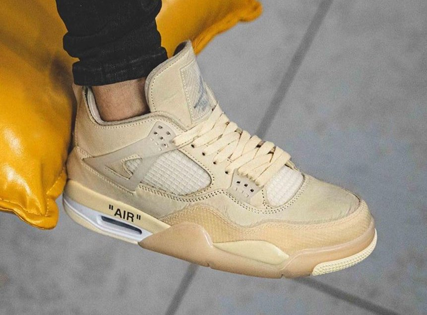 Off-White Air Jordan 4 Sail CV9388-100 On-Feet
