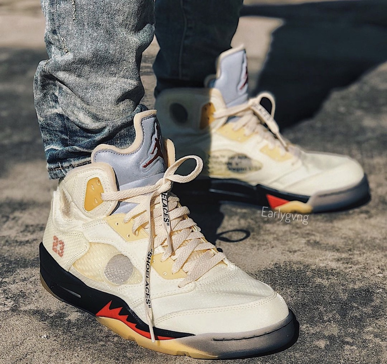 Off-White Air Jordan 5 Sail Fire Red DH8565-100 Release Date On-Foot